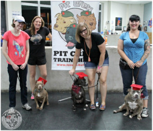 Newest Pit Crew Teams: (from left) Jenn & Sweet Pea, Trainer Crystal Dunn, Ryan & Edie and Brandy & Mama