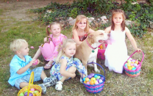 Bellamy Surrounded with Kids at Easter
