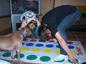 Lady Bird playing Twister